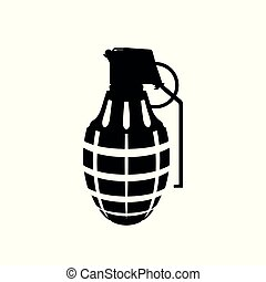 Black silhouette of hand grenade. Army explosive. Weapon...
