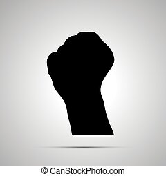Black silhouette of hand in fist gesture on white