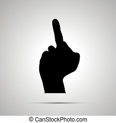 Black silhouette of hand in middle finger gesture on white