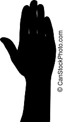 Black silhouette of hands on white background