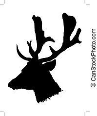 head of deer - black silhouette of head of deer