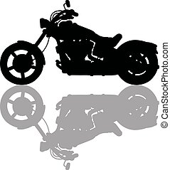 Black silhouette of heavy motorcycle