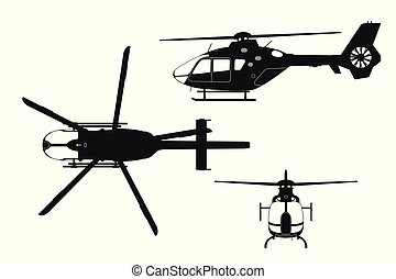 Black silhouette of helicopter on white background. Top, side, front view. Isolated drawing