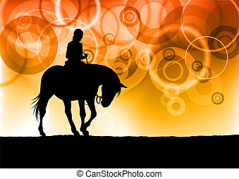 black silhouette of horse riding