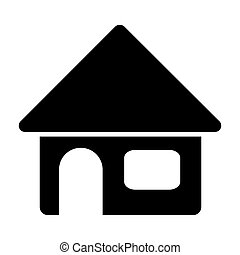 black silhouette of house in white background