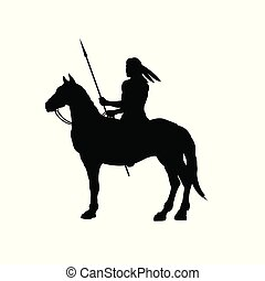 Black silhouette of indian on horse. Isolated image of...