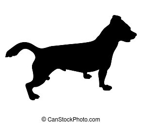 black silhouette of jack russell terrier dog