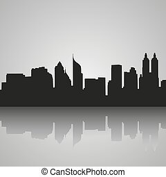 Black silhouette of Jakarta with reflection. Vector illustration