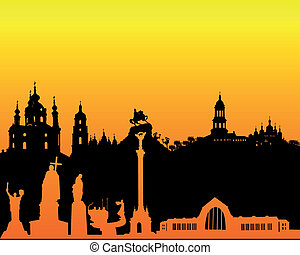 black silhouette of Kiev