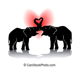 Black silhouette of kissing elephants on a white background