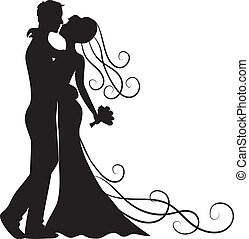 kissing groom and bride - Black silhouette of kissing groom...