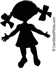 black silhouette of little doll