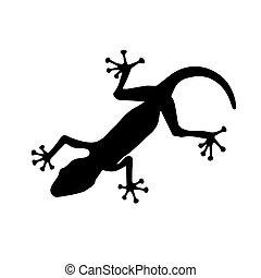 Black silhouette of lizard on white background. Vector Illustration