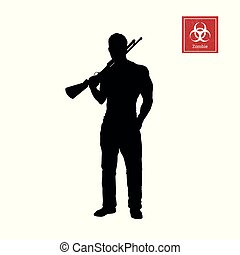 Black silhouette of man with shotgun on white background. Zombie shooter. Character for computer game or thriller. Hunter with rifle