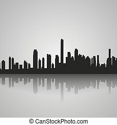 Black silhouette of Miami with reflection. Vector illustration