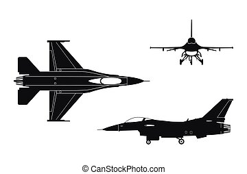 Black silhouette of military aircraft on white background. Top, side, front views