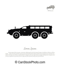 Black silhouette of military car on white background. War SUV in side view