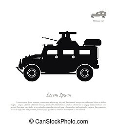 Black silhouette of military car on white background. War SUV in side view.