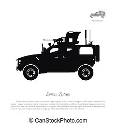 Black silhouette of military car on white background. War SUV in side view. Vector illustration
