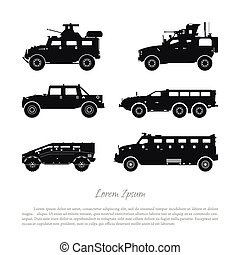 Black silhouette of military cars