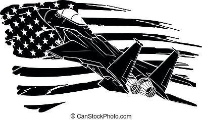 black silhouette of Military fighter jets with american flag. Vector illustration