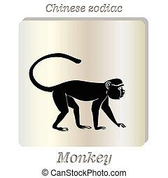Black silhouette of  monkey