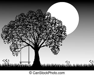 Black silhouette of old tree at night scene.
