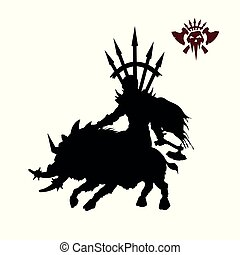 Black silhouette of orc warlord on white background. Fantasy character. Angry warrior on wild boar. 2d sprite shaman