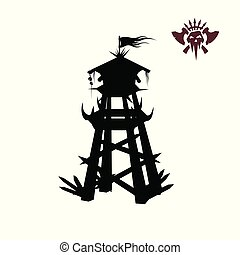 Black silhouette of orcs tower. Fantasy object. Archer medieval watchtower. Game fortress icon