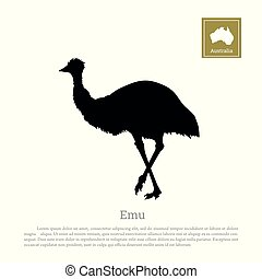 Black silhouette of ostrich emu on white background. Animal...