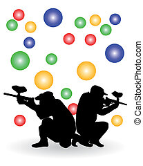 players in a paintball - Black silhouette of players in a...