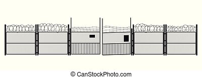Black silhouette of prison on white background. Gates and steel grid. Symbol of freedom