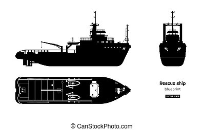 Black silhouette of rescue ship on white background. Top, side and front view. Industry blueprint. Isolated drawing of boat