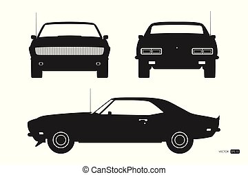 Black silhouette of retro car. American vintage automobile of 1960s. Front, side and back view. Classic auto