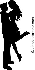 Black silhouette of romantic couple