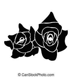 Black silhouette of rose