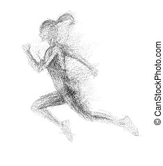 Black silhouette of running woman from particle divergent.