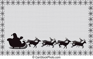 Black silhouette of Santa Claus flying in a sleigh on white  knitted background