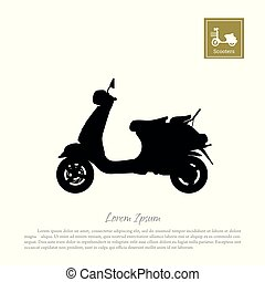 Black silhouette of scooter on white background
