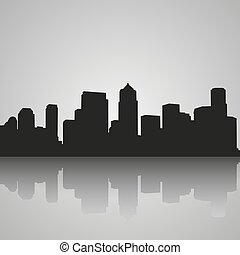 Black silhouette of Seattle with reflection. City skyline