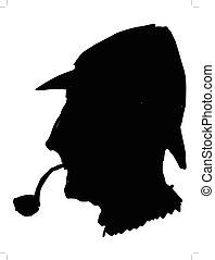 Sherlock Holmes - black silhouette of Sherlock Holmes