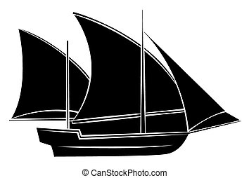 Black Silhouette Of Ship Symbol