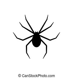 Black silhouette of spider isolated on white background. Halloween decorative element. Vector illustration for any design.