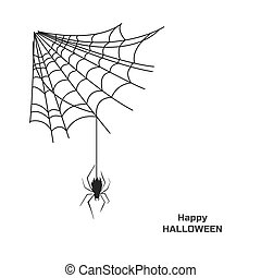 Black silhouette of spider on web. Halloween party. Isolated image of poison insect