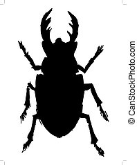 black silhouette of stag-beetle