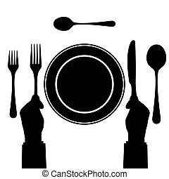 Black silhouette of tableware.