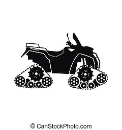 Black silhouette of the all-terrain vehicle on a white background