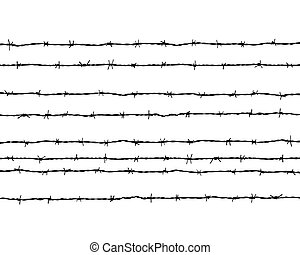 barbed wire - Black silhouette of the barbed wire