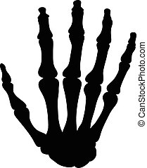 Black silhouette of the bones of the hand isolated on white...
