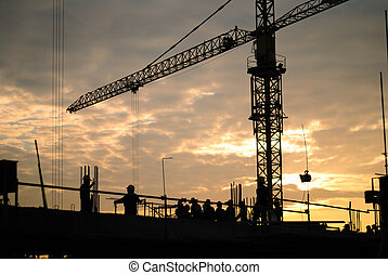 construction - Black silhouette of the building construction...